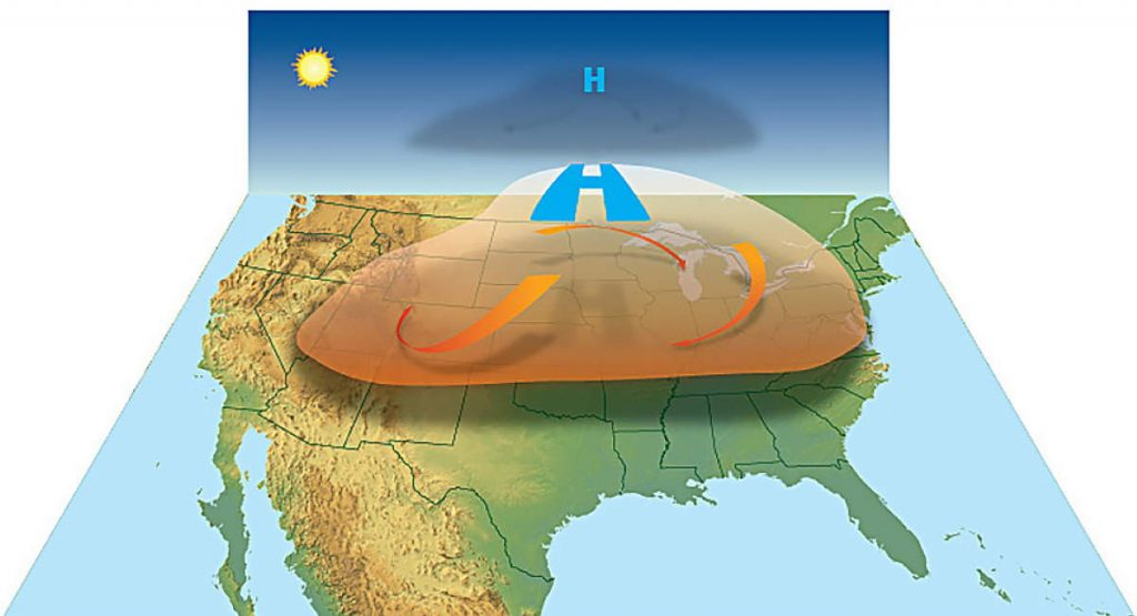 A heat dome over the United States